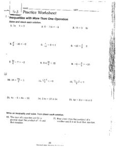 Inequalities with More Than One Operation Worksheet