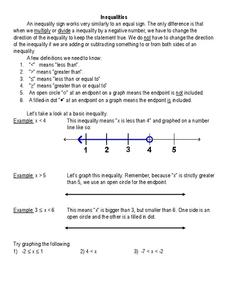 Inequalities Worksheet