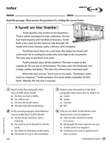 Infer: Tyrell on the Tracks Worksheet