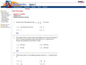 Infinite Geometric Series Worksheet