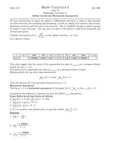 Infinite Limits and Horizontal Asymptotes Higher Ed Worksheet ...