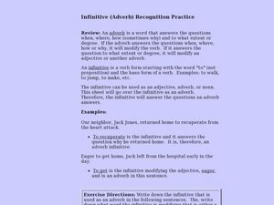 Infinitive (Adverb) Recognition Practice Lesson Plan