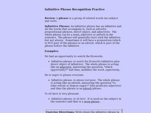 Infinitive Phrase Recognition Practice Lesson Plan