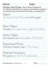 Printables Infinitive Phrase Worksheet infinitive phrase worksheet davezan 6th grade