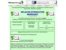 Inflation Introduction Worksheet Lesson Plan