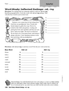 Inflected Endings: ed and ing Worksheet