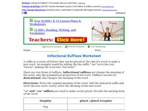 Inflectional Suffixes Worksheet Worksheet
