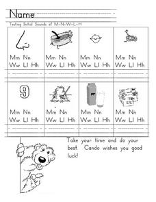 Initial Consonant Sounds of M-N-W-L-H Worksheet