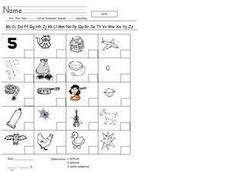 Initial Consonant Sounds: Pre/Post Test Worksheet