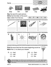 Initial Consonants: B, F, M, R, S Worksheet