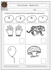 Initial Sounds Mixed 4s Worksheet