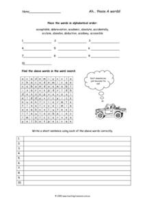 "Initial Vowel ""A"" Words Worksheet"