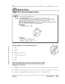 Inscribed Angles and Arcs Worksheet