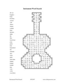 Instrument Word Search Worksheet