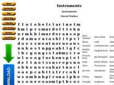 Instruments Word Search Worksheet