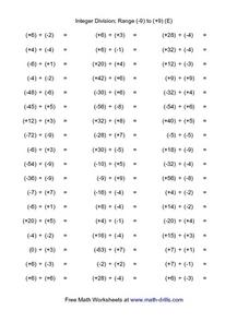Integer Division; Range (-9) to (+9) (E) Worksheet