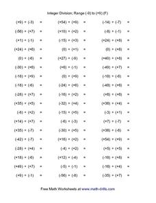 Integer Division; Range (-9) to (+9) (F) Worksheet