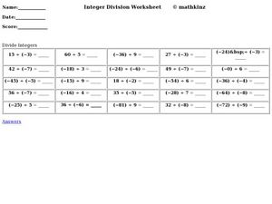 Integer Division Worksheet Worksheet