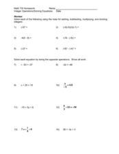 Integer Operations/Solving Equations 6th - 9th Grade Worksheet ...