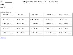 Integer Subtraction Worksheet Worksheet