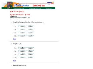 Integers and the Number Line Worksheet