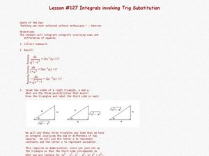 Integrals Involving Trig Substitution Lesson Plan