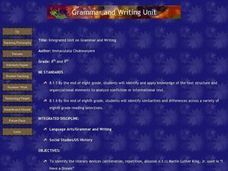 Integrated Unit on Grammar and Writing Lesson Plan