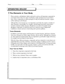 Integrating Biology: The Elements in Your Body Worksheet