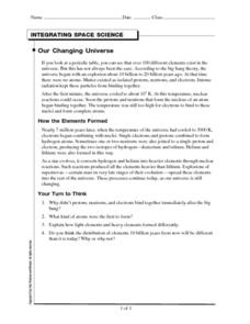 Integrating Space Science-Our Changing Universe Worksheet