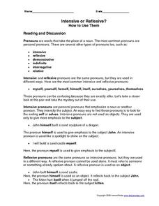 Intensive or Reflexive? How to Use Them Worksheet