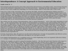 Interdependence: A Concept Approach to Environmental Education Lesson Plan