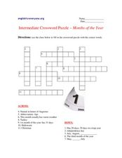 Intermediate Crossword Puzzle- Months Of the Year Worksheet