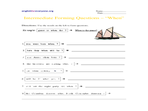 Intermediate Forming Questions - When Worksheet
