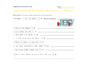 Intermediate Forming Questions - Where Worksheet