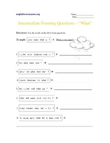 Intermediate Forming Questions -- Worksheet
