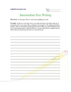 Intermediate Free Writing Worksheet