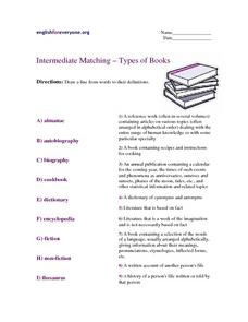 Intermediate Matching – Types of Books Worksheet