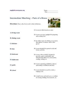 Intermediate Matching - Parts of a House Worksheet