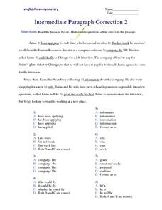 Intermediate Paragraph Correction #2 Worksheet