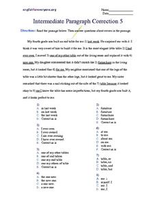 Intermediate Paragraph Correction #5 Worksheet