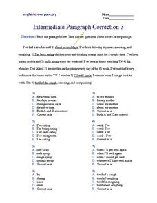 "Intermediate Paragraph Correction- Prepositional Phrases And the Verb ""to Be"" Worksheet"