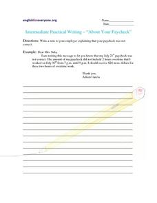 "Intermediate Practical Writing-- ""About Your Paycheck"" Worksheet"