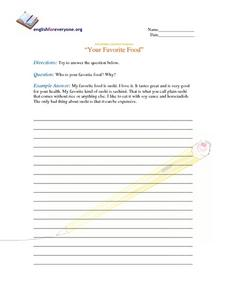 "Intermediate Question Response- ""Your Favorite Food"" Worksheet"