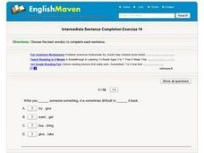Intermediate Sentence Completion 14 Worksheet