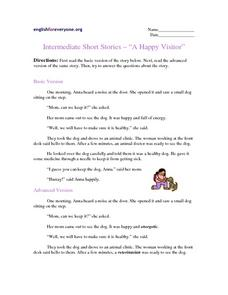 "Intermediate Short Stories:--""A Happy Visitor"" Worksheet"