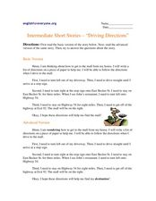 "Intermediate Short Stories - ""Driving Directions"" Worksheet"