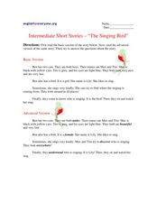 "Intermediate Short Stories - ""The Singing Bird"" Worksheet"