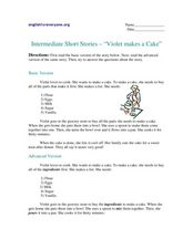 "Intermediate Short Stories - ""Violet Makes a Cake"" Worksheet"