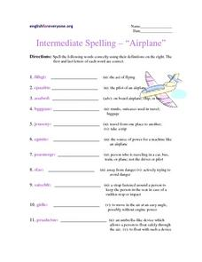 "Intermediate Spelling-- ""Airplane"" Worksheet"