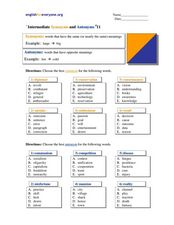 Intermediate Synonyms and Antonyms #11 Worksheet